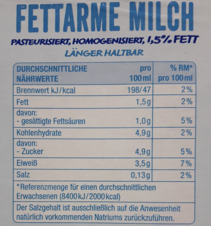 Naehrwerte Milch